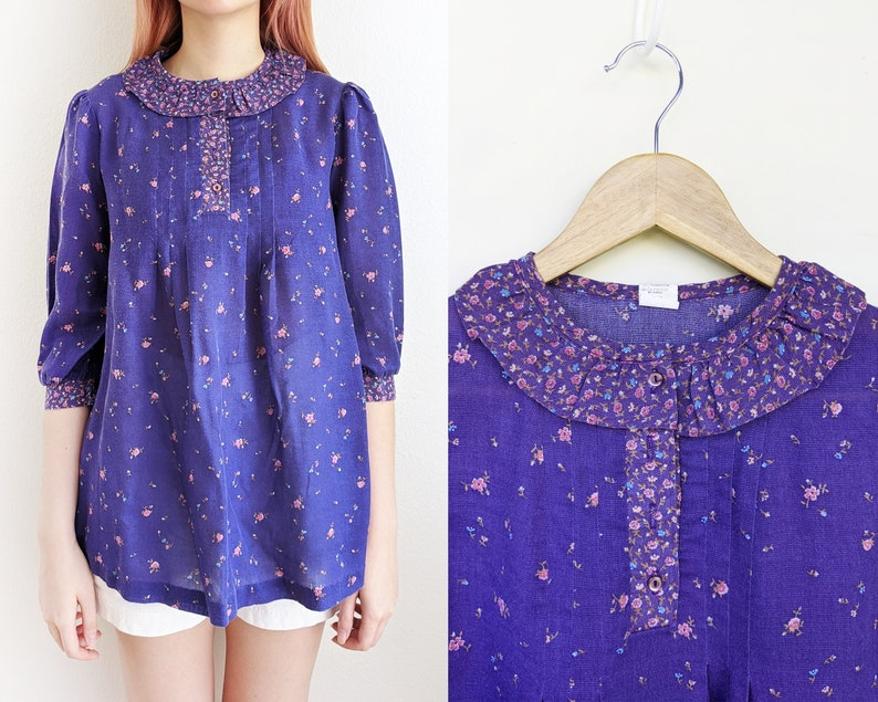 size 56 Vintage purple boho floral blouse 60s tunic with ruffled collar XS