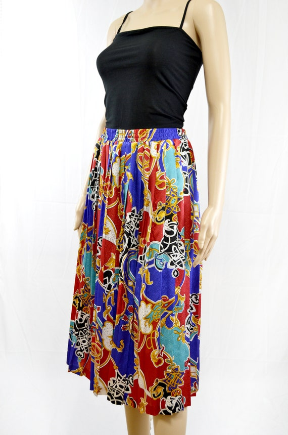 Pleated Colorful Skirt Baroque Print 80s Vintage Maxi Skirt Vintage Maxi Skirt