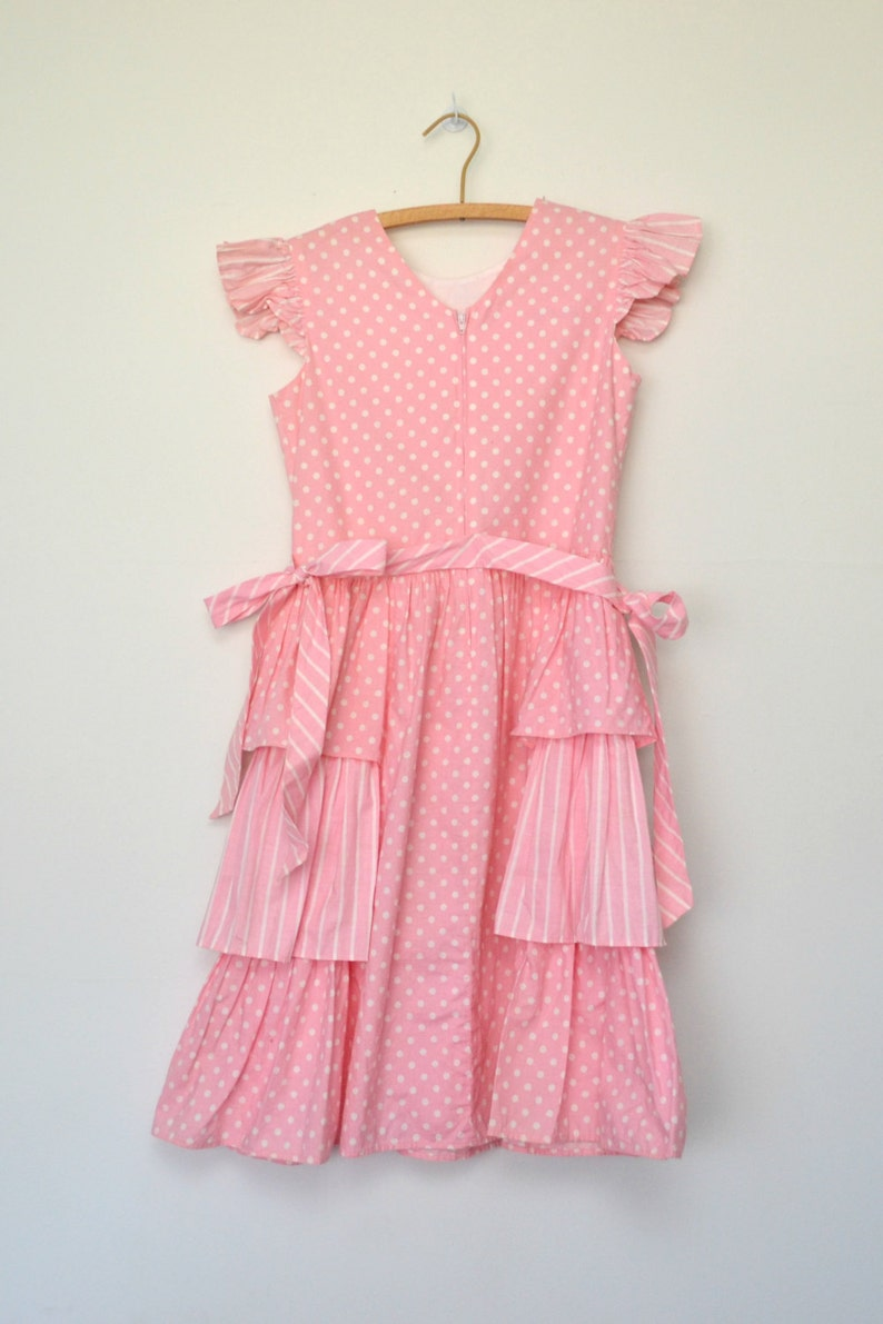 size large L 80s girls pink dress vintage polka dot ruffled tiered dress with cap sleeves