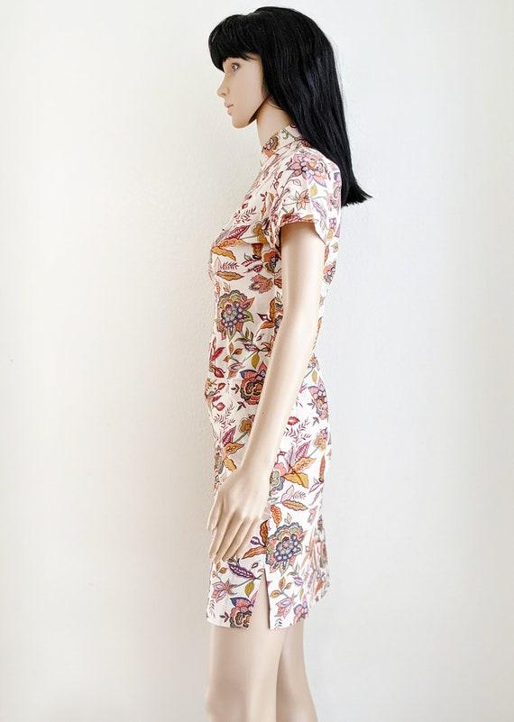Vintage floral qipao dress, retro floral cheongsa… - image 4