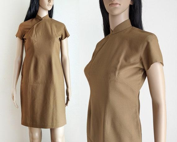 Vintage mocha brown qipao dress, casual cheongsam,