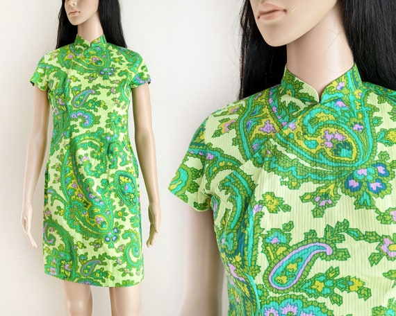 Vintage 60s lime green paisley qipao dress, retro