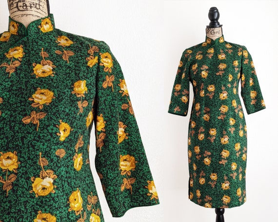 Vintage green floral qipao dress, yellow rose prin