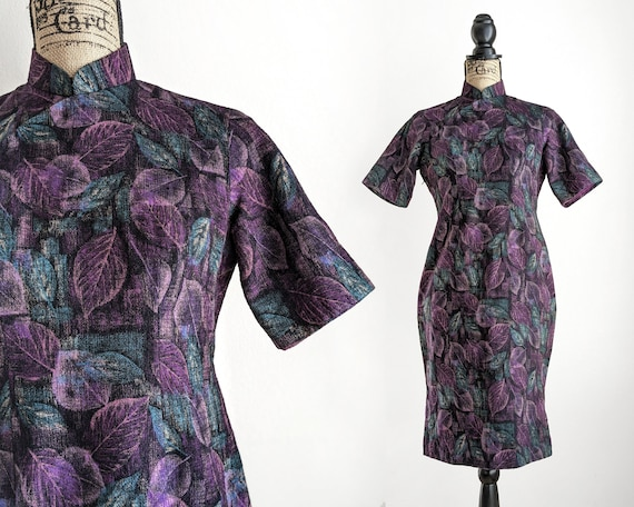 Vintage purple qipao dress, leaf print wool cheong