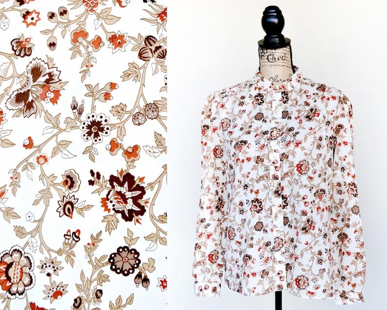 vintage floral print button down blouse 70s woodland shirt Autumn fall season size large L