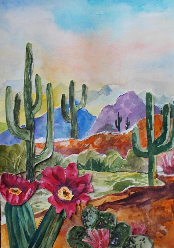 Paisaje Acuarela Collage pintura Original de los Cactus del