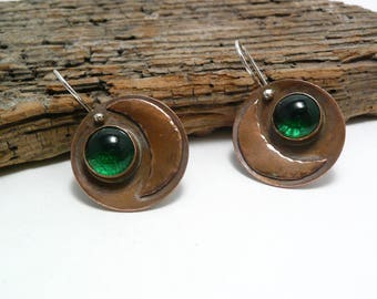 Emerald green lampwork glass and copper earrings, bezel-set, Murano glass, boho, hippie, contemporary, one-of-a-kind, moon and star