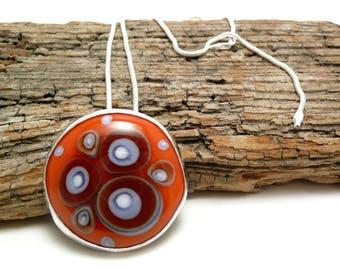 Stargazer  orange lampwork Murano glass pendant, contemporary jewel, one-of-a-kind, statement pendent, lampwork bezel set cabochon