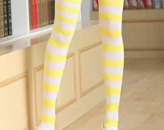 609103d5e Yellow and White Striped Stripes Women s Stocking Thigh High Over the Knee  Long Socks New