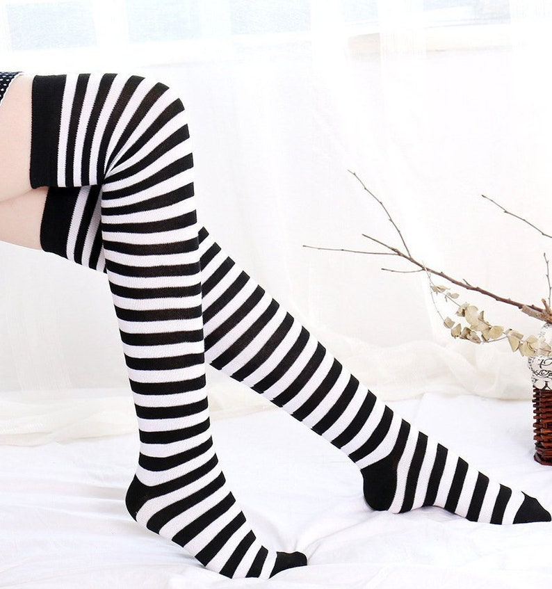 a2972567a White and Black Pin Striped Stripes Women s Stocking Thigh