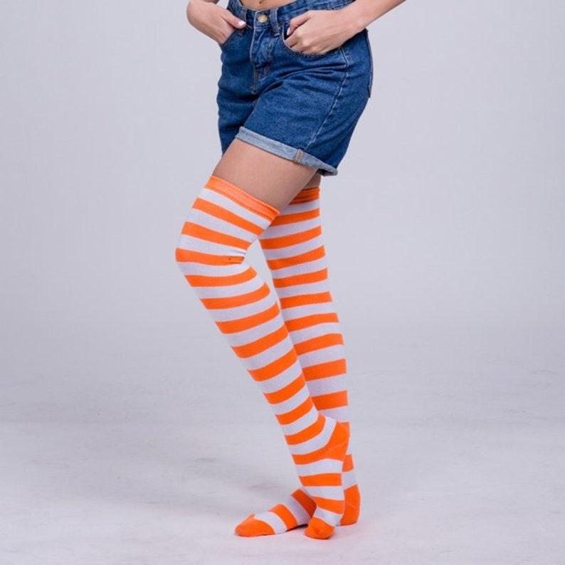 31cbd0f77bb74 Orange and White Striped Stripes Women's Stocking Thigh | Etsy