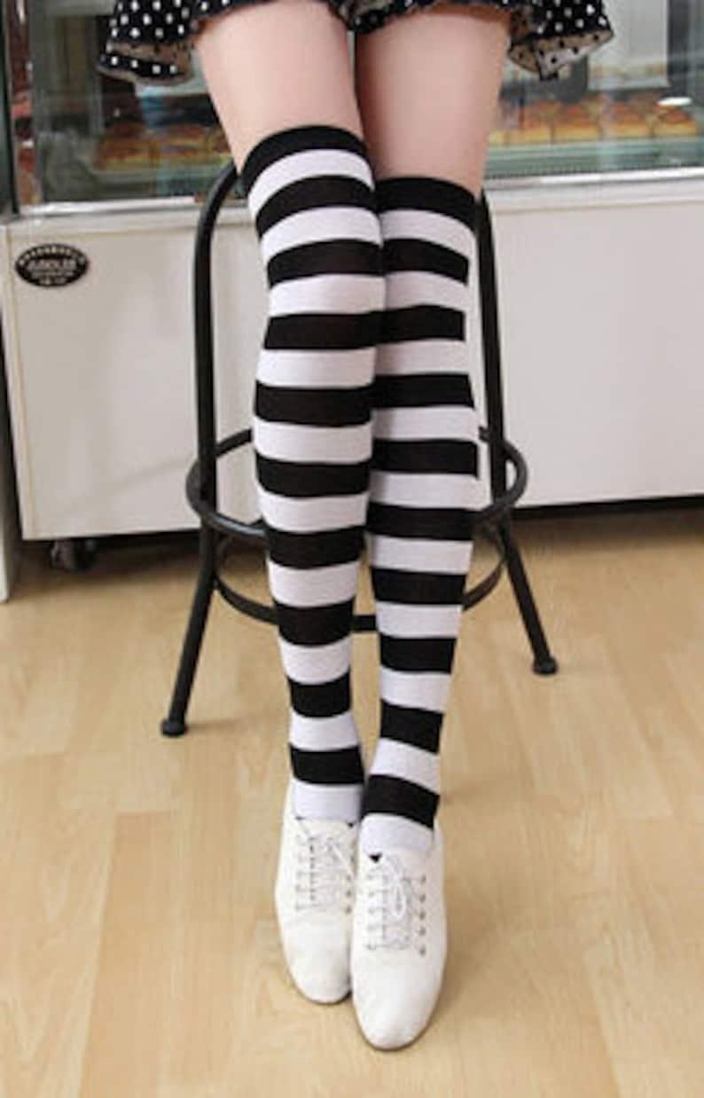 7e71c4d4b Black and White Striped Stripes Women s Stocking Thigh