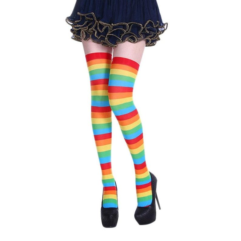 2cec1387ca0b7 Rainbow Striped Stripe Women Sexy Compression Stocking Thigh | Etsy