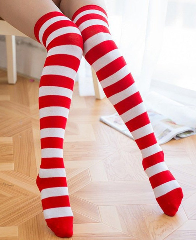 0d26cebc3 Red and White Striped Stripes Women s Stocking Thigh High