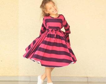 Girls Christmas dress, Hot pink & Purple striped dress, round dress for girls, Cotton