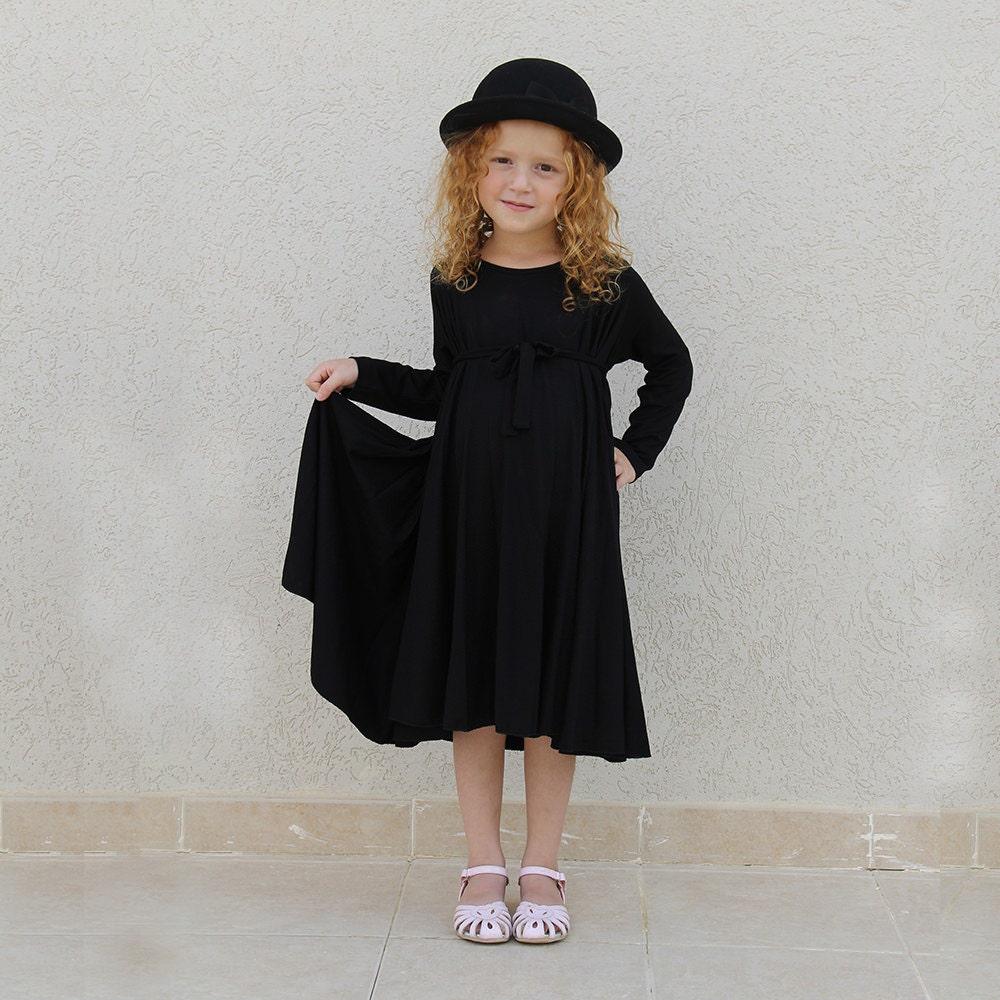 Girls black dress round dress elegant dress for girls | Etsy