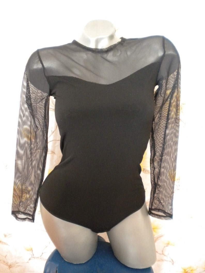 clearance sale bodysuit jersey tulle long sleeve thong in black