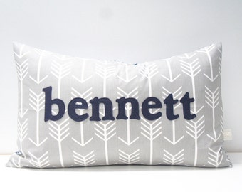 Pillow Cover - Personalized Name Pillow Cover, 16x24, custom - made to order, grey arrows