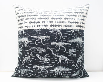 Pillow Cover - Patchwork Pillow Cover, 20x20, black and white, monochrome, geometric, dinosaurs, dinosaur pillow