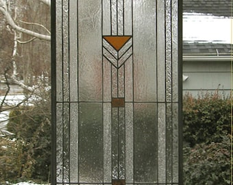 """Stained Glass Window Panel--Praire School Style-Sidelight--13"""" x  44.5"""" - One panel-"""