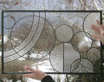 """Stained Glass Window Panel--Circle Study Arts and Crafts Style--16.25"""" x 25.5"""""""