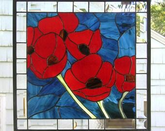 "Stained Glass Window Panel--Red Oriental Poppy Flowers--18"" x  18"""