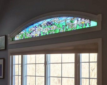 """Stained Glass Window Panel--Daisy and Lavender Transom -13.75"""" x 87.25"""""""