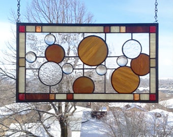 "Stained Glass Window Panel--Ten Circles Geometric #2 --10"" x 18"""