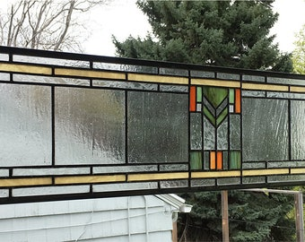 """Stained Glass Window Panel--Prairie School Style Transom Panel --8"""" x 33"""""""