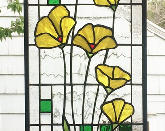 """Stained Glass Window Panel--Yellow Poppies Geometric --One Panel 10"""" x  23 5/16"""""""