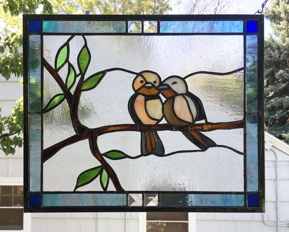 Stained Glass Window Paneltwo Love Birds12 5 X Etsy