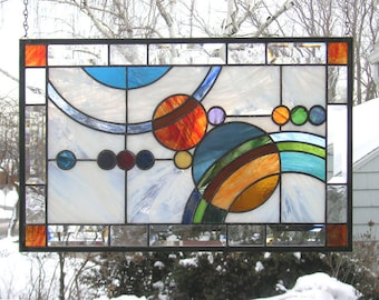 """Stained Glass Window Panel--Galaxy  #1-- 21.5"""" x  13.5"""""""