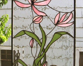 "Stained Glass Window Panel--Pink Cosmos Blooming--15"" x 26"""