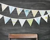 Bunting Banner / Vintage Nursery Decoration / Baby Shower / First Birthday Party / Nursery Decor / Aqua Green Blue