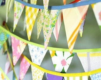 Colorful Bunting Banner - Vintage Fabric Flag Garland - Baby Shower Decoration - Nursery Decor - Party Bunting - Three 10' Buntings