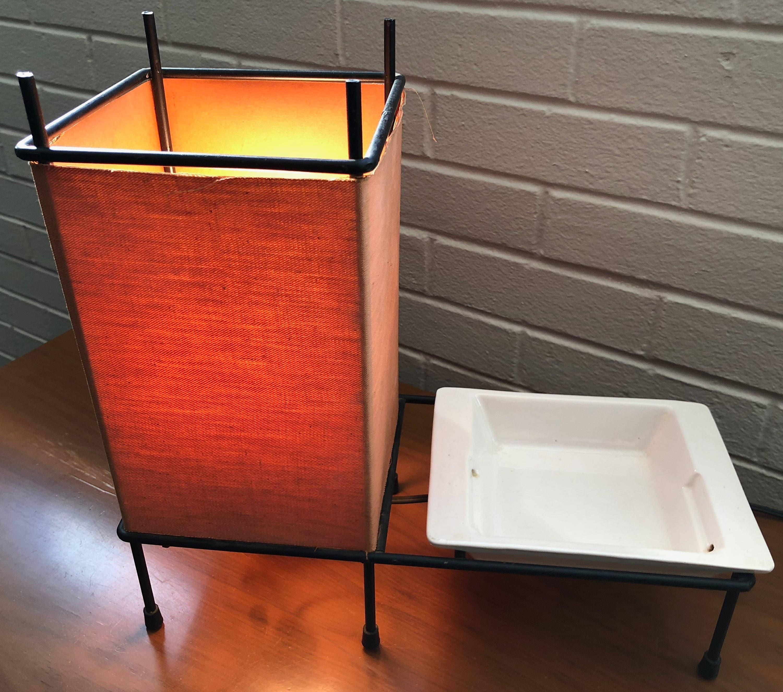 Rare Vintage 50s Iron Table Lamp Ceramic Dish Insert Retro