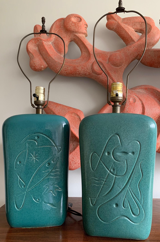 Pair Vintage 50s Atomic Fish Sealife Ceramic Lamps Mid