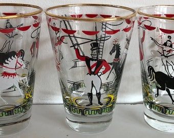 Set of 3 Vintage 50s 60s Circus Ringmaster Horses Glasses Mid Century Modern Retro Glassware Kitsch Fifties Sixties