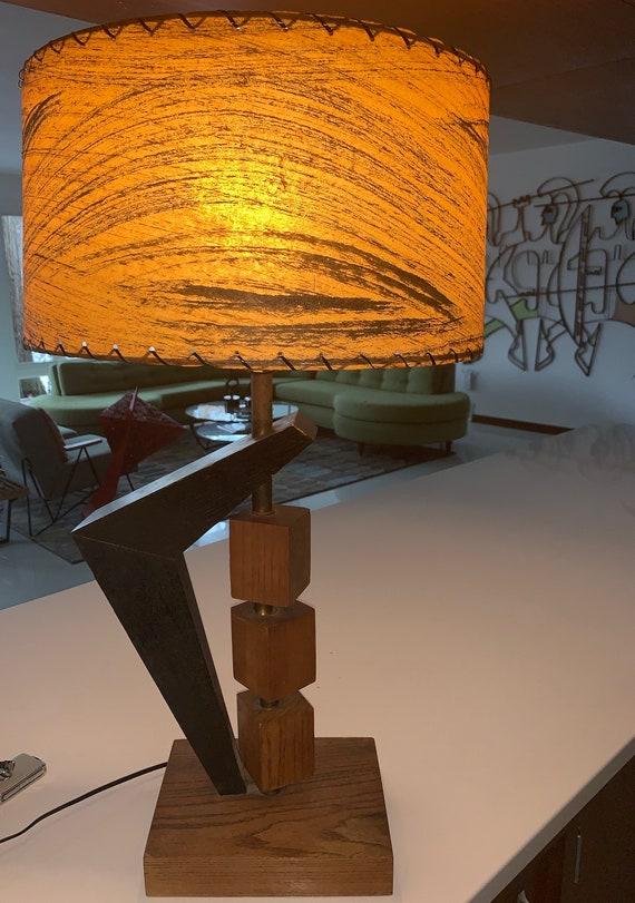 Fantastic Mid Century Cube Lamp Orange