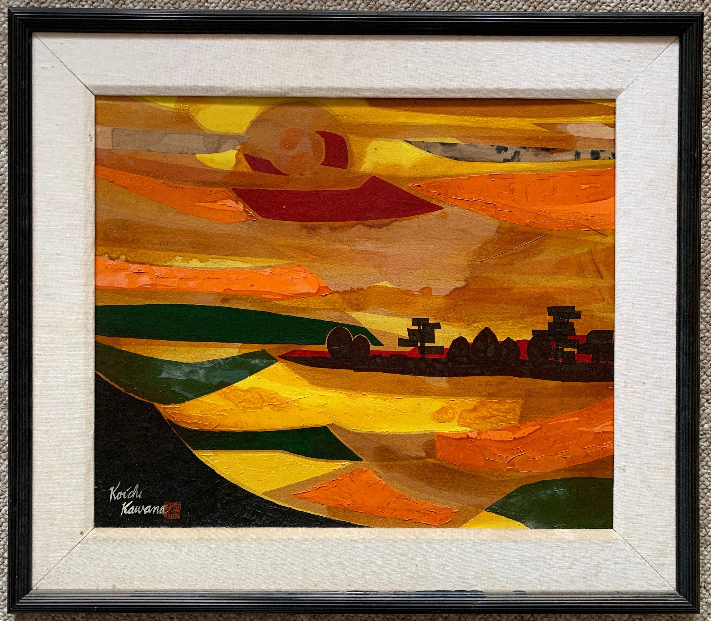 Picture of: Vintage 60s Abstract Landscape Mixed Media Painting Wall Hanging Mid Century Modern Kawana