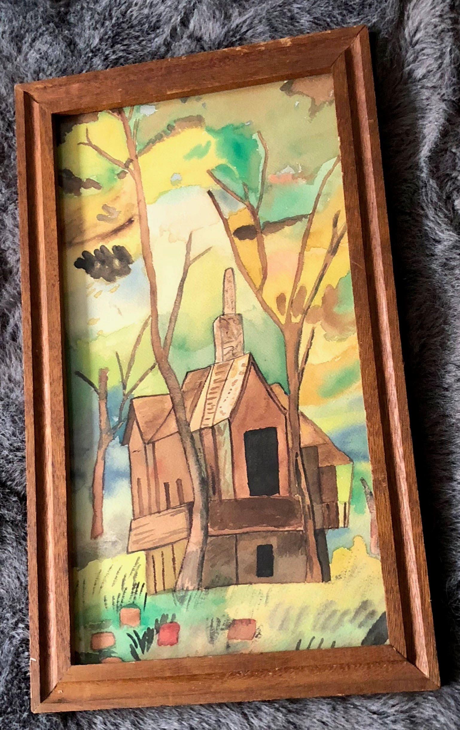Vintage 60s Abstract Cottage Trees Watercolor Painting Wall Hanging ...