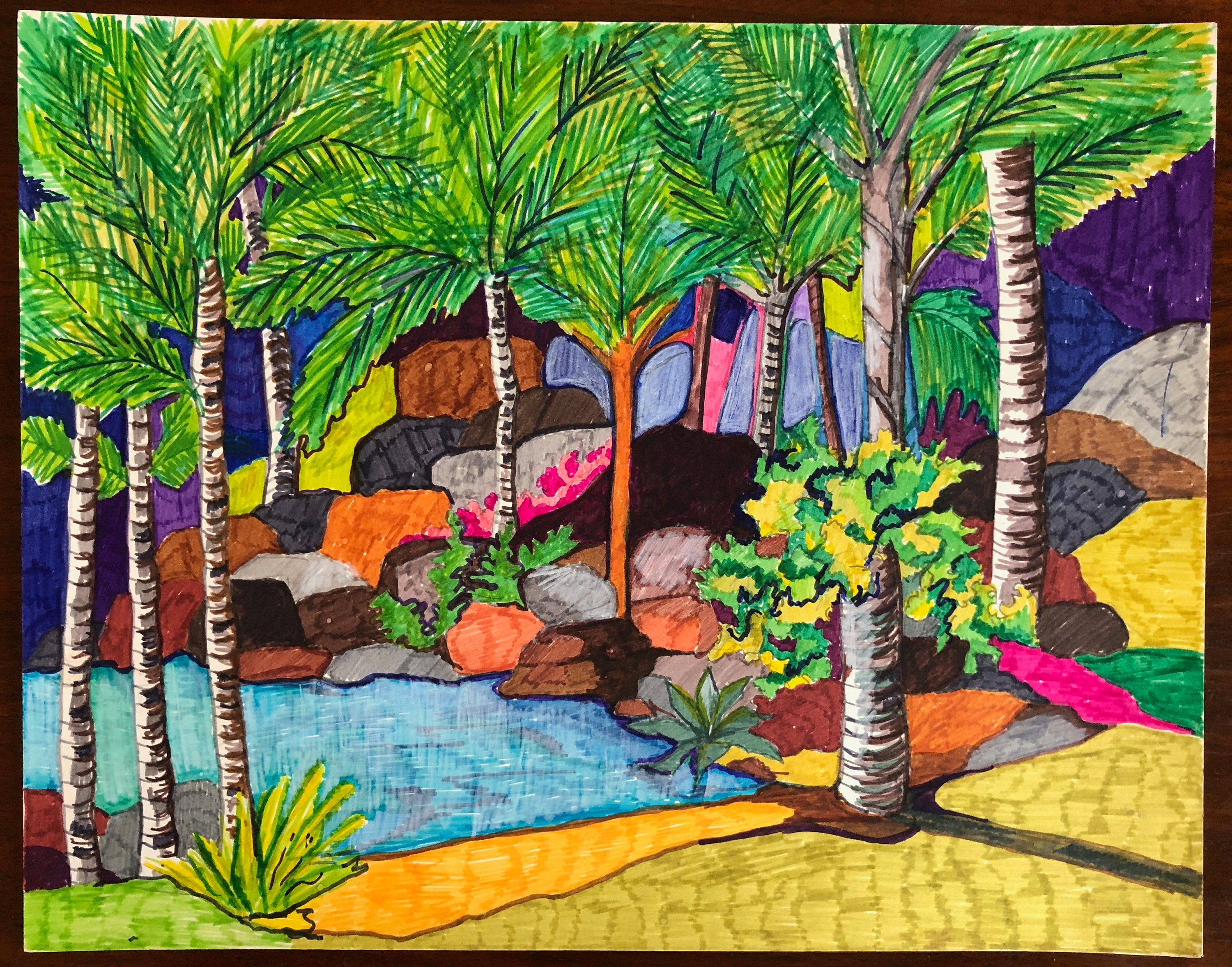 Vintage 80s Colored Ink Tropical Island Palm Trees Drawing Retro Art ...