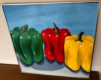 Vintage 70 Red Yellow Green Bell Peppers Oil Painting Retro Art Wall Hanging Modern Seventies Fruits Vegetables