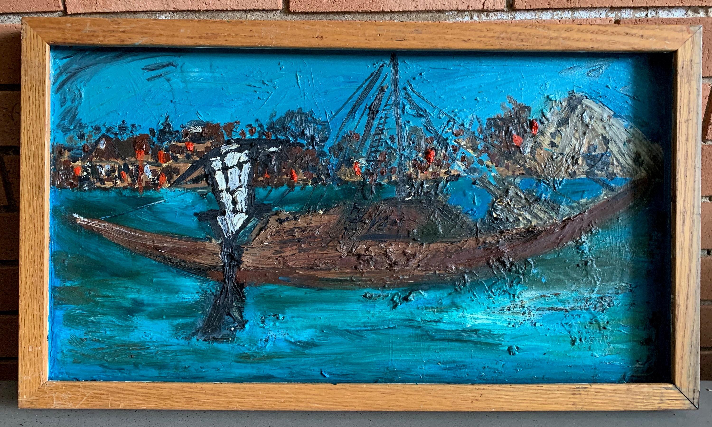 Vintage 20s Nautical Seascape Textured Oil Painting Mid Century ...