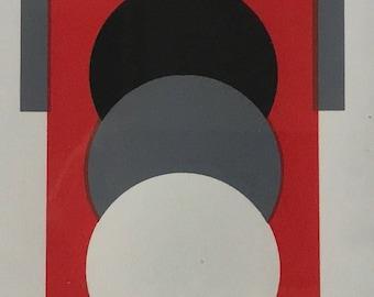Vintage 60s Op Art Serigraph Wall Hanging Retro Art Mid Century Modern Signed Monokokolokis Sixties