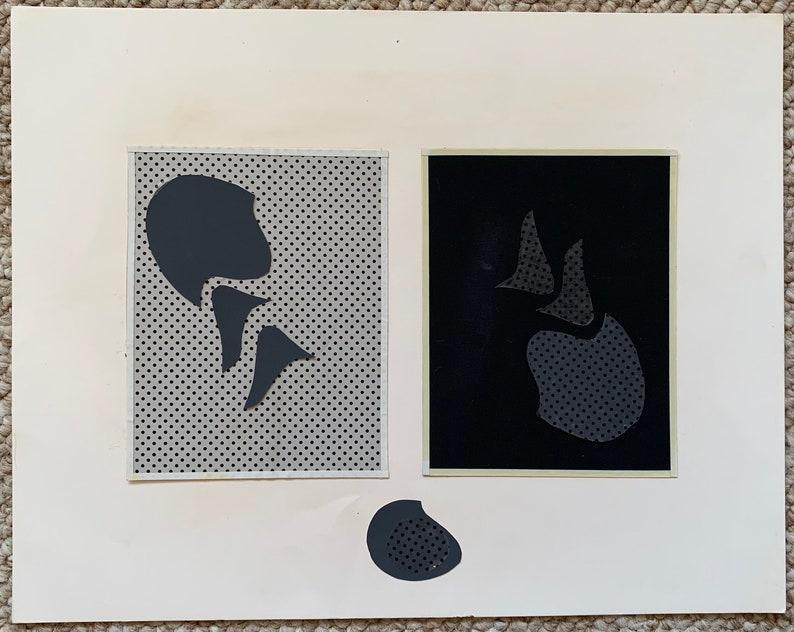 10 Vintage Mixed Media Black Gray Abstract Shapes Paper Art Collage Wall Hanging Mid Century Modern