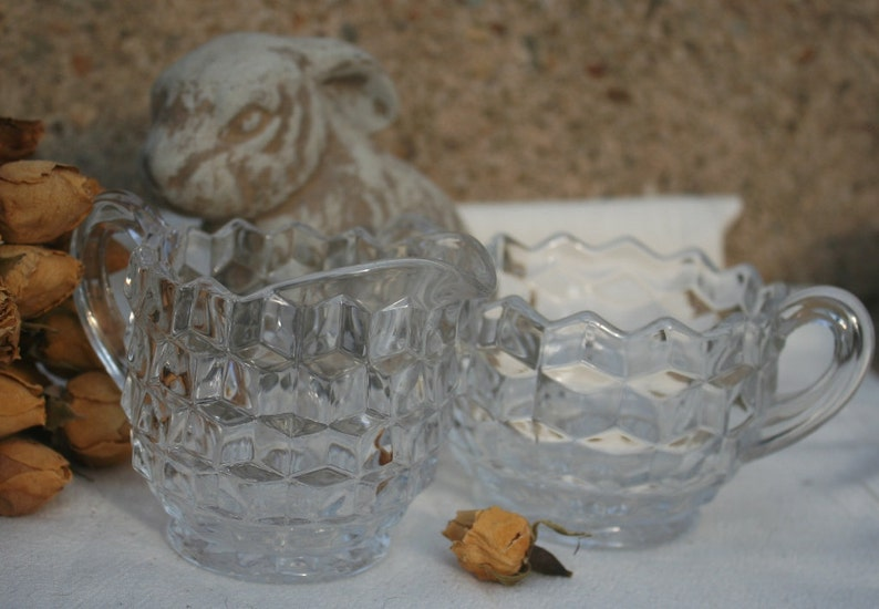 Fostoria Glass Cream and Sugar Set for your Tea Parties American Pattern Serving Dishes