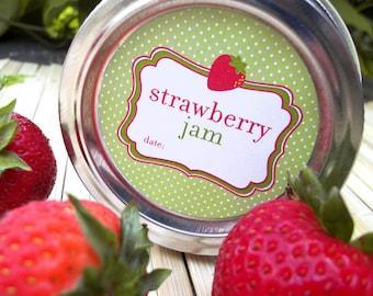 Cute Strawberry Jam canning jar labels, round canning labels for mason jars, fruit preservation mason jar labels, cute jam jar labels