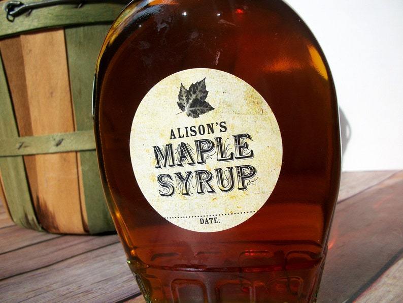 4418707064a Custom Vintage Maple Syrup bottle labels personalized round