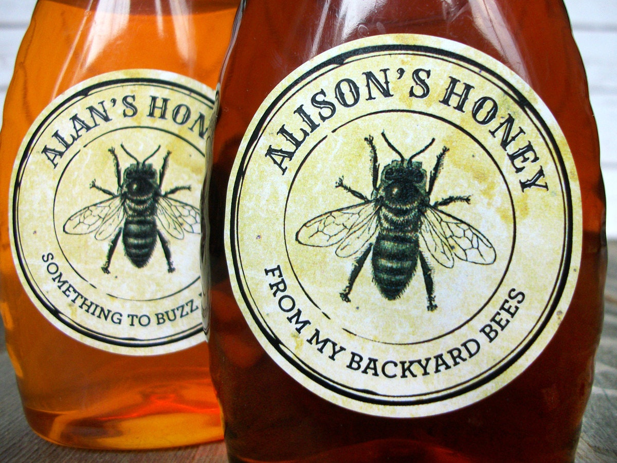 Custom vintage seal honey bottle canning jar labels for backyard beekeepers gift customized round honey bee mason jar stickers
